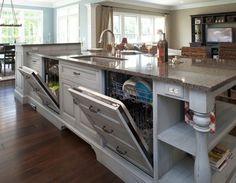 Formal white kitchen with blue island - Mullet Cabinet traditional kitchen {love the double dishwashers} New Kitchen, Kitchen Dining, Kitchen Decor, Kitchen Cabinets, Kitchen Sink, Kitchen Island With Sink And Dishwasher, Kitchen Layout, Cupboards, Kitchen Outlets