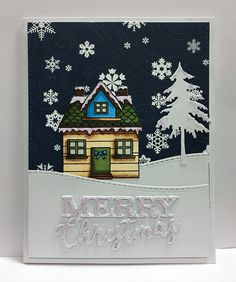 """Card christmas cottage house tree snowflakes snowdrift hills snow landscape Hero Arts Holidays houses stamp set, Scripty words Merry Christmas from Impression Obsession IO die - Echo Park Hello Winter paper pad """"Hello Winter"""" collection - kort jul jule kort -StjerneSus design"""
