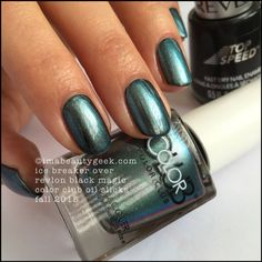 Color Club Oil Slicks – Color Club Ice Breaker over Revlon Black Magic. The whole collection swatched at imabeautygeek.com