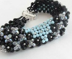 Teal Blue and Black Art Deco Crystal Cuff by BeadsandThreadsbyAmy, $50.00