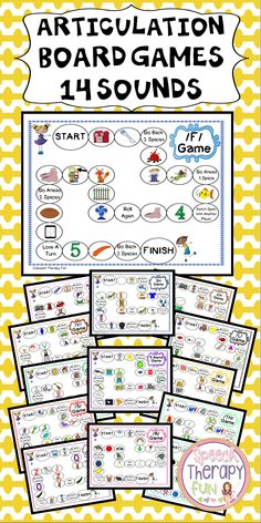 Articulation Game Boards addressing 14 different sounds in the initial position!