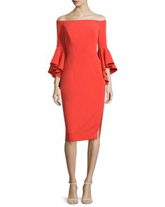 Selena Off-The-Shoulder Sheath Dress, Flame by Milly at Neiman Marcus.