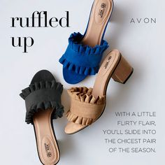 Flowered sandals, ruffled slide, or Textured mules with matching bag? What is your favorite? http://www.youravon.com/kschama