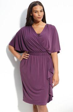 Donna Ricco Flutter Sleeve Faux Wrap Dress