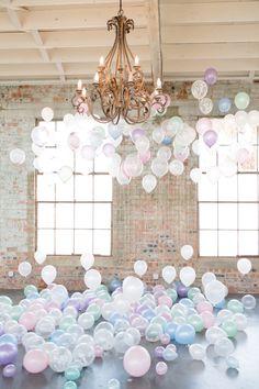 pastel wedding balloons