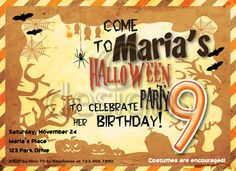Halloween Digital Party Invitation No 2 by Odesigns on Etsy, €9.00