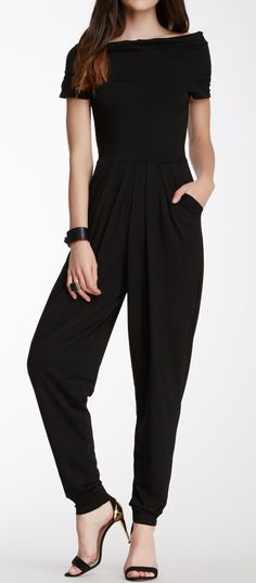 Drape shoulder jumpsuit