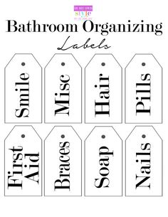 Free printable organizing labels for bathroom products by In My Own Style - Site Title Printable Lables, Printable Recipe Cards, Free Printables, Canning Labels, Pantry Labels, Canning Recipes, Organizing Labels, Organization Ideas, Organising