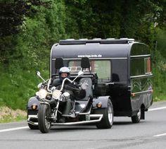 Blact VW Trike pulling a trailer !