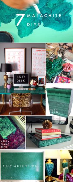 Love this color! FUJI FILES: 7 Malachite Decor Diys