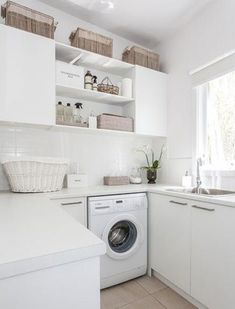 Over 40 different creative laundry room ideas, cabinet, designs and hacks to help make your laundry adventures a little more pleasant and functional. managing to fit everything you need in a small laundry room. Laundry Decor, Laundry Storage, Laundry Room Organization, Laundry Room Design, Laundry In Bathroom, Design Kitchen, Kitchen Ideas, Laundry Room Layouts, Laundry Area