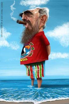 "CARICATURAS DE FAMOSOS: ""Fidel Castro"" por Ernesto Priego"