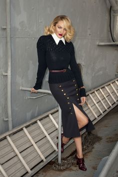 Michael Kors Collection sweater, $695, shirt, $395, skirt, $1,295, belt, $295, 866-709-KORS; Michael Kors shoes, $750, shopBAZAAR.comverdura.com;Verdura earrings, $6,950, verdura.com; Cartier watch, $9,580, cartier.us.   - HarpersBAZAAR.com