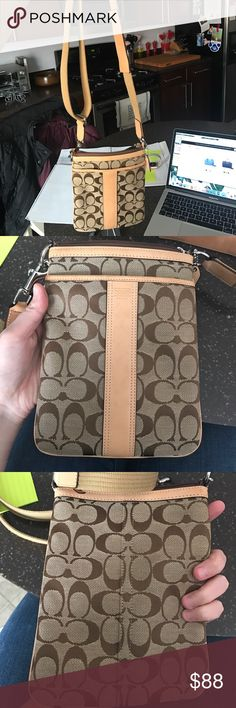 Coach crossbody Coach crossbody. A few stains (see picture) on front leather strip that should come off. Used 5 times. Comes with dust cover Coach Bags Crossbody Bags