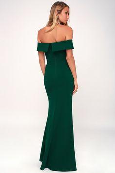 d1e832ce7e7 Lulus | Aveline Forest Green Off-the-Shoulder Maxi Dress | Size Medium |  100% Polyester