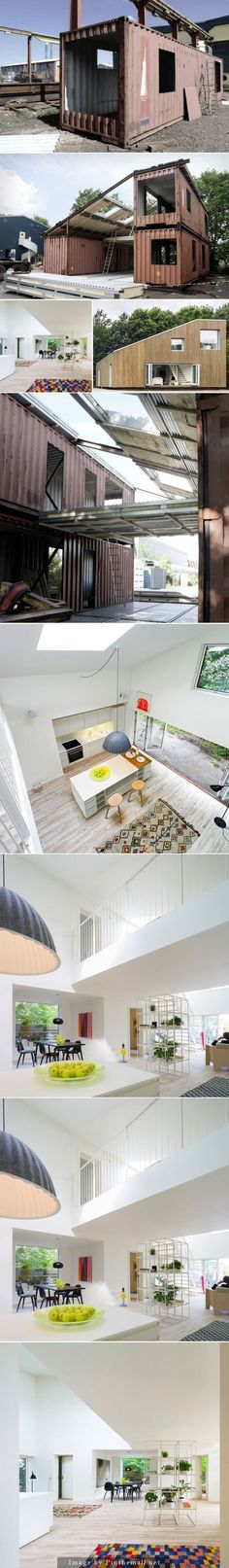 Container House - Upcycled Shipping Container Home - Who Else Wants Simple Step-By-Step Plans To Design And Build A Container Home From Scratch? Building A Container Home, Container Buildings, Container Architecture, Architecture Design, Sustainable Architecture, Architecture Awards, Contemporary Architecture, Container Design, Container Pool
