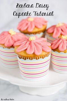 With buttercream icing and a few simple tools, use this tutorial to turn your favorite cupcakes into beautiful gerbera daisy cupcakes for any spring occasion!