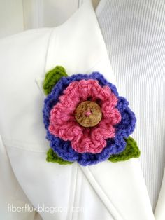 Fiber Flux...Adventures in Stitching: Free Crochet Pattern...Layered Ruffle Flower ☀CQ #crochet #crochetflowers http://www.pinterest.com/CoronaQueen/crochet-leaves-and-flowers-corona/