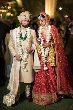 Couple Wedding Dress, Wedding Outfits For Groom, Groom Wedding Dress, Indian Wedding Outfits, Groom Dress, Bridal Outfits, Sherwani For Men Wedding, Indian Bride And Groom, Bride Groom