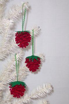 Christmas Pine Cone Strawberry Ornament