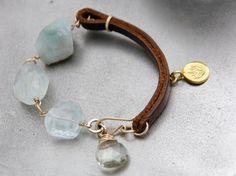 Aquamarine Leather Bracelet 14K Gold Fill Green Amethyst