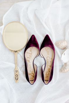 Bridal Wedding Jewelry mauve velvet wedding flats, so cute! - Cape May played backdrop to this couple's love story so they chose it as the perfection location for their fall coastal wedding. Winter Wedding Shoes, Wedding Boots, Wedding Day, Wedding Flats For Bride, Autumn Wedding, Plum Wedding, Trendy Wedding, Burgundy Wedding Shoes, Winter Weddings