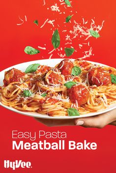 This is the easiest ever version of baked spaghetti and meatballs you'll ever find. We stand by that. Italian Dishes, Italian Recipes, Baked Spaghetti And Meatballs, Mediterranean Pasta, Meatball Bake, How To Cook Pasta, Weeknight Meals, Stuffed Peppers, Baking