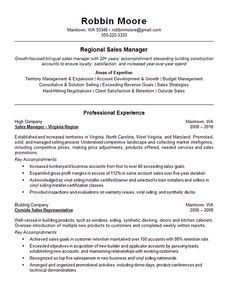 This resume example is for a Regional Sales professional with experience as a sales manager, and outside sales rep for a lumbar and building company College Resume, Student Resume, Manager Resume, Sales Resume Examples, Resume Objective Examples, Marketing Resume, Sales And Marketing, Build Your Resume, Sales Strategy