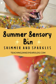 Put together a fun preschool summer sensory bin that includes shimmery pieces and containers to fill. This is a great way to boost those fine motor skills through play! #preschool #summer #sensory #sensorybin #sensorytable #finemotor #age3 #age4 #teaching2and3yearolds Sensory Bins, Sensory Activities, Summer Activities, Summer Lesson, Lesson Plans For Toddlers, 3 Year Olds, Ocean Themes, Toddler Preschool, Fine Motor Skills