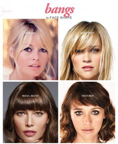 Bangs by Face Shape Sunnie Brook Celebrity Hairdresser and Beauty Expert is part of Hair cuts - I've got some simple tips on cutting bangs by face shape! Square Face Hairstyles, Hairstyles With Bangs, Pretty Hairstyles, Heart Shaped Face Hairstyles, Wedding Hairstyles, Updo Hairstyle, How To Cut Bangs, Long Hair With Bangs, How To Style Bangs
