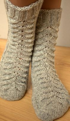 Knitted lace socks for woman, wool hand knitted socks, light grey color socks