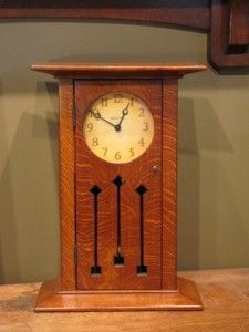 Prairie Tulip.  Arts and Crafts, Craftsman, Clocks.  Oak.  Choice of Movements, Faces, Woods & Finishes.  http://www.present-time-clocks.com