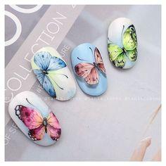 Butterfly Nail Designs, Butterfly Nail Art, Almond Nails Designs Summer, Nail Art Wheel, Bubble Nails, Water Color Nails, Daisy Nails, Nail Art Designs Videos, New Nail Art