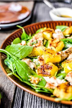 Baby Spinach with Grilled Pineapple and Chicken
