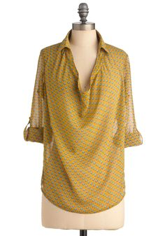 Try Out Your Wings Top in Nouveau - Yellow, Blue, Casual, 3/4 Sleeve, Long, Print. $39.99 at Mod Cloth