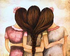 Three sisters vintage art print with quote or by claudiatremblay