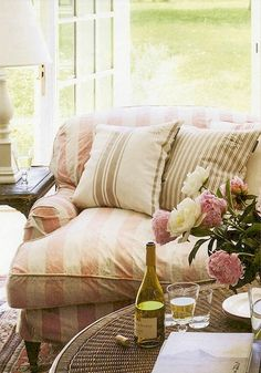 Shabby striped couch 25 Cottage Touches - The Cottage Market Style Cottage, Cozy Cottage, Cottage Living, Cozy House, Home And Living, Cozy Living, Cottage Style Furniture, French Cottage, Striped Couch