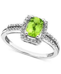 14k White Gold Ring, Peridot (1 ct. t.w.) and Diamond (1/6 ct. t.w.) Rectangle - Rings - Jewelry & Watches - Macy's #divorcering: #trashthedress #divorce