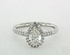 .8ct Pear Halo Engagement Ring in Platinum - See it in 360 HD SuperZoom!