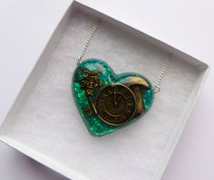 Alice In Wonderland Heart Shaped Resin Necklace by CandyShockUK