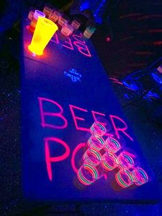 """Glow In The Dark Drink Pong! All you need are Glow Sticks and Glow In The Dark Paint."" Or if you don't want to go the DIY route, we sell this product! http://coolglow.com/Blacklight-Reactive-Beer-Pong-Party-Pack/c0/"