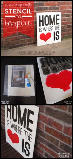 Stencil the Home is Where the Heart Is Wall stencil on canvas to create diy wall art ! http://www.cuttingedgestencils.com/home-is-wall-quote-stencil.html