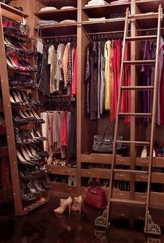 The closet in Brooke Shields's Manhattan townhouse is outfitted with a rolling shoe rack and library ladder.
