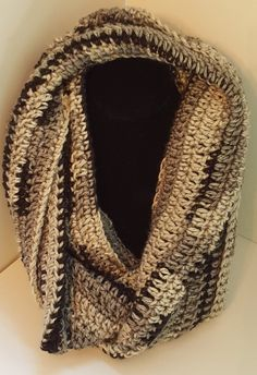 Infinity Scarf in Black Gray and White