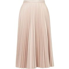 TopShop Pu Pleated Midi Skirt (1,510 MXN) ❤ liked on Polyvore featuring skirts, midi, pale pink, pink pleated skirt, topshop skirt, full skirt, mid calf skirt and pastel pink skirt