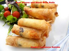 Goat Cheese and Black Olive Rolls | Hadias Lebanese Cuisine