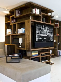 cool shelving unit for a masculine space