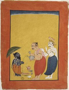 """Vamana, the Dwarf Avatar of Vishnu"". Page from a dispersed series of the Bhagavata Purana (Story of the Lord Vishnu). Made in Mankot, Jammu and Kashmir, India. Circa 1700-25. Alvin O. Bellak Collection."