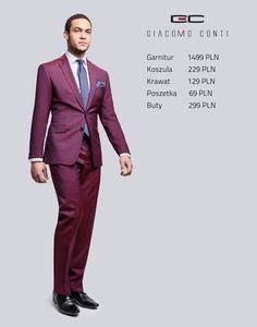 Stylizacja Giacomo Conti: bordowy garnitur Marco 2 F14/57B, koszula Riccardo 14/08/38 #giacomoconti