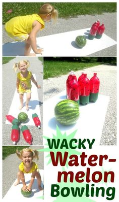 Watermelon bowling- a super fun game for Summer!  Great for cook outs, Summer parties, family fun days, or for a WACKY watermelon day.